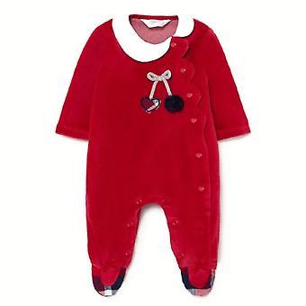 Mayoral baby girls velour babygrow red 2667 051