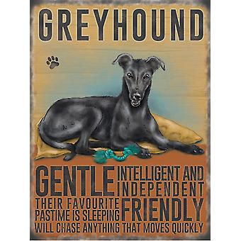 Greyhound Black Wall Plaque by The Original Metal Sign Co