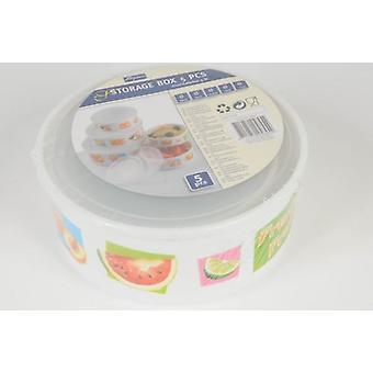 Satz von 5 Runden Aufbewahrungsbox mit Deckel-Container für Home Küche Essen
