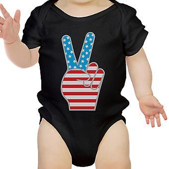 Amerikaanse vlag vredesteken Black katoen Baby Romper 4 juli geschenken