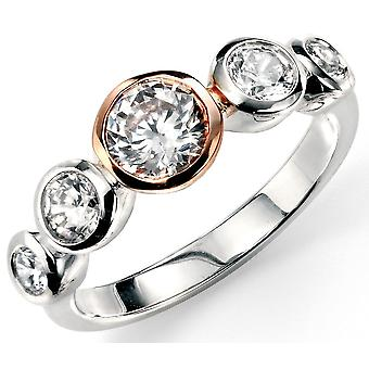 925 Silver Rose Gold Plated And Zirconia Trend Ring