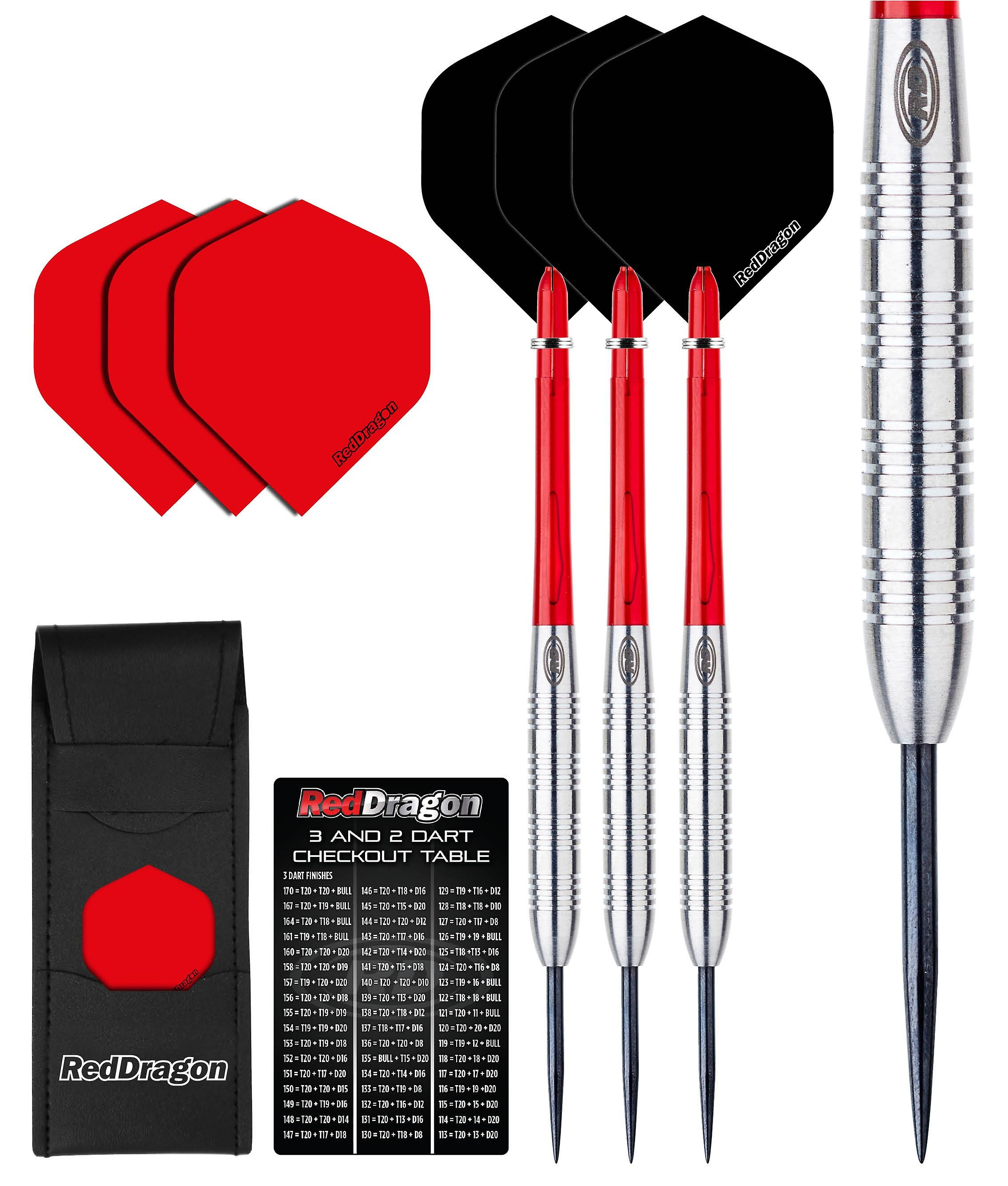 Red Dragon Hell Fire B: 24g - 80% Tungsten Steel Darts with Flights, Shafts, Wallet & Red Dragon Checkout Card