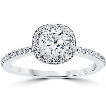 1ct diamante anel de noivado almofada Halo 14K ouro branco