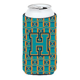 Letter H Football Aqua, Orange and Marine Blue Tall Boy Beverage Insulator Hugge