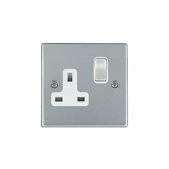 Hamilton Litestat Hartland Satin Chrome 1g 13A DP Switched Socket SC/WH