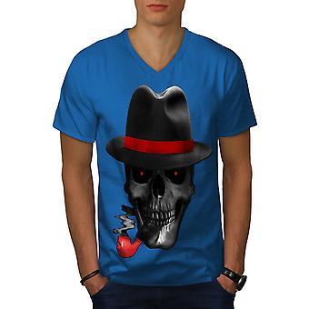 Kallo Mafia gangsteri Royal BlueV-Neck t-paita | Wellcoda