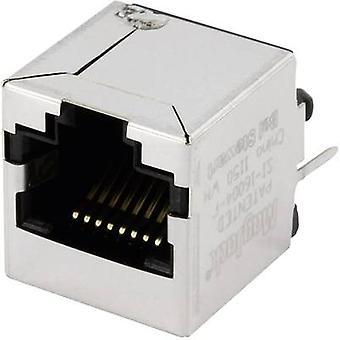 MagJack 10/100Base-TX pystysuora 4 muuntaja pistorasiaan, pystysuora pystysuora 10/100Base-TX nastojen määrä: 8P8C SI-16004-F nikkeli-pinnoitettu, metalli BEL Stewart