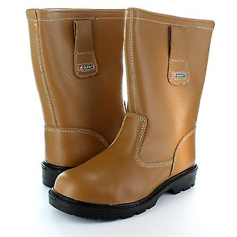 Tan Fur Lined Safety Toe Cap Rigger Boot