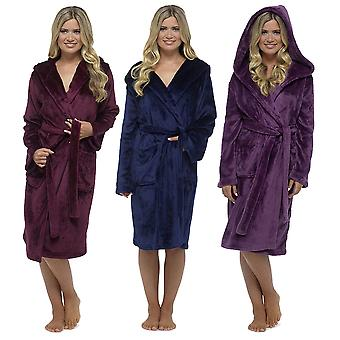 Ladies Supersoft Warm Shimmer Fleece Hooded Wrap Over Nightwear Bathrobe Dressing Gown