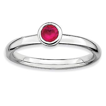 925 Sterling Silver Bezel Polished Rhodium plaqué Stackable Expressions Low 4mm Round Cr. Ruby Ring Jewelry Gifts for Wo