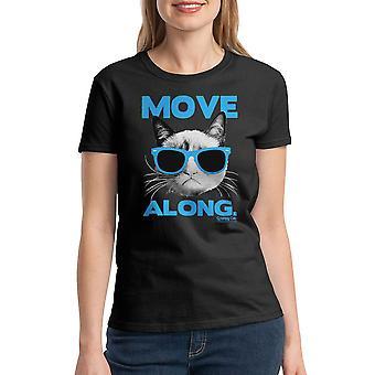 Grumpy Cat Move Along Women's Black Funny T-shirt