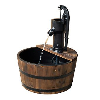 Outsunny 1 Tier Wooden Barrel Water Fountain Outdoor Garden Decorative Water Feature w/ Electric Pump