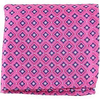 Knightsbridge neckwear virágos selyem Pocket Square-rózsaszín/haditengerészet