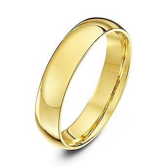 Tähti vihkisormuksista 9ct keltainen Gold valo tuomioistuin muoto 4mm vihkisormus