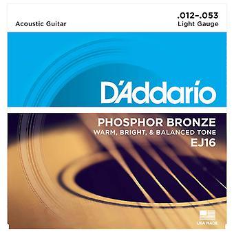 D'Addario EJ16 Acoustic Guitar Strings - 12-53 Light