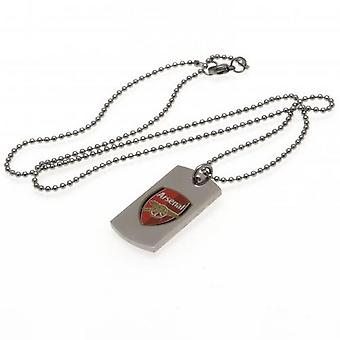 Arsenal FC Colour Crest Dog Tag And Chain