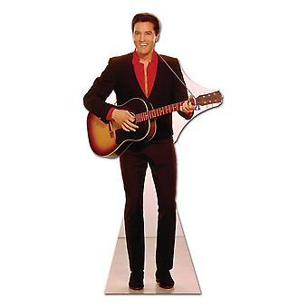 Elvis i röd tröja med gitarr - Lifesize kartong släppandet / stående