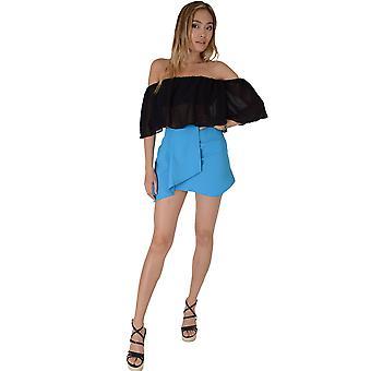 Lovemystyle Bright Blue A-Line Skirt With Aysmmetric Hem