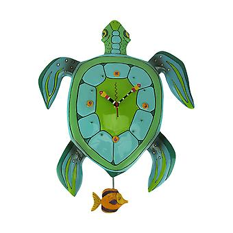 Allen Designs Sup Daddy? Sea Turtle Pendulum Wall Clock Large