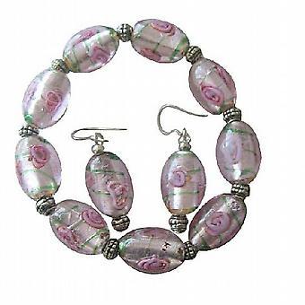 Розовый MILLIFIORI ВЕНЕЦИАНСКОГО стекла бисера серьги растягивающийся браслет