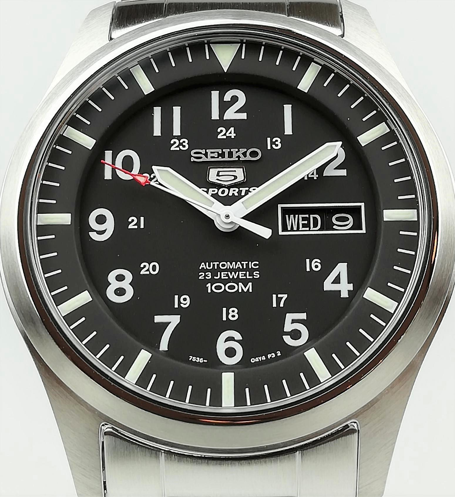 Seiko 5 Sports Automatic Black Dial Stainless Steel Men's Watch SNZG13K1