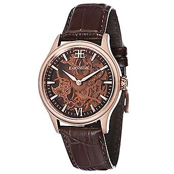 Thomas Earnhshaw Bauer Shadow ES-8061-04 mechanical wrist watch skeleton dial and brown leather strap