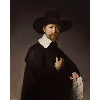 Portrett av Marten Looten, Rembrandt, 50x40cm