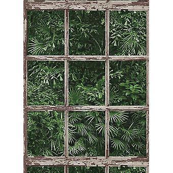Tropical Leaf Jungle Wallpaper Window Frame Forest Paste Wall Vinyl Erismann