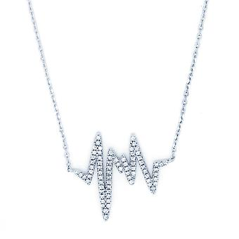 Ah! Jewellery Sterling Silver Heartline Pendant Necklace With Crystals From Swarovski