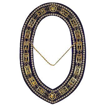 Kryptisk murer - kongelig og vælg rhinestones kæde krave - guld / sølv på lilla + gratis sag