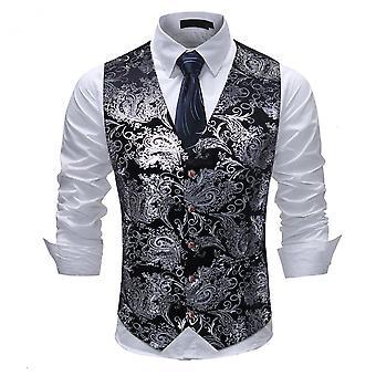 Allthemen Men's Suit Vest V-Neck Printed Business Casual Vest 5 Colors