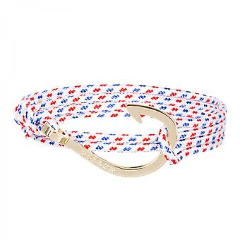 Holler Kirby  Gold Polished Hook / White, Blue and Red Paracord Bracelet HLB-03GDP-P01