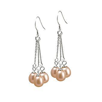 Eternal Collection Japonica Teardrop Pink FW Pearl Sterling Silver Drop Pierced Earrings