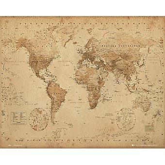 Verden kort antik stil Mini plakat 40x50cm