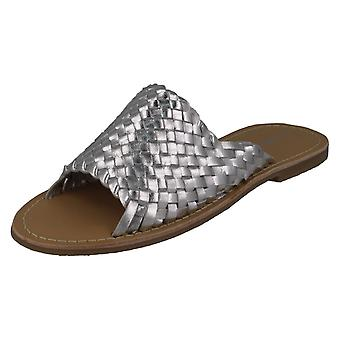 Ladies Leather Collection Flat Weave Vamp Mules F00192