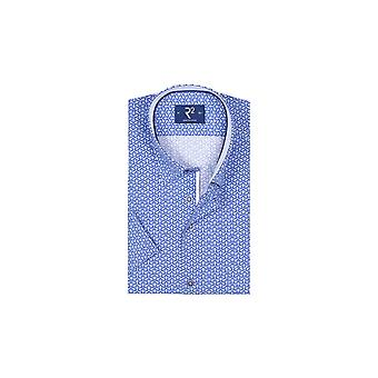 R2 Slim Fit Blue Pattererned Short Sleeved Shirt Blue Patterned