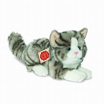 Hermann Teddy Plüsch Spielzeug Katze Grau müde liegend klein