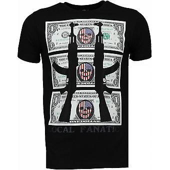 AK-47 Dollaro-Rhinestone T-shirt-nero