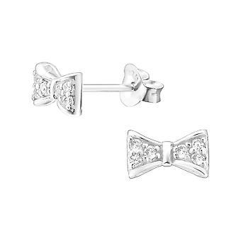 Bow - 925 Sterling Silver Cubic Zirconia Ear Studs - W21892X