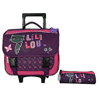Bagtrotter LILNI98PURE Lililou Trolley for School with Case - size-38 x 14 x 33 cm - Colour-Purple