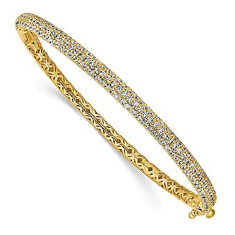 925 Sterling Silver Pave Polished Prong set 14k Gold Plated With CZ Cubic Zirconia Simulated Diamond Hinged Cuff Stackab
