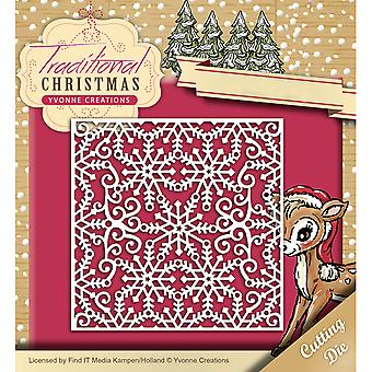 Find It Trading Yvonne Creations Die-Snowflake Frame, Traditional Christmas