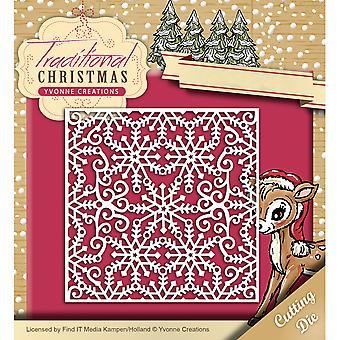 Hitta det Trading Yvonne skapelser Die-snowflake Frame, traditionell jul