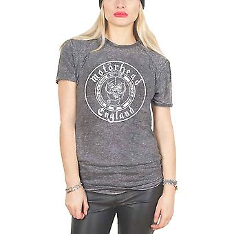 Motorhead T Shirt England Seal Warpig Lemmy Official Unisex Burnout slim fit