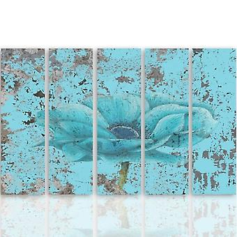 Five Part Picture On Canvas, Pentaptych, Type C, Blue Flower