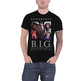 Biggie Smalls T Shirt سيئة السمعة BIG ملصقة شعار جديد الرسمية الرجال الأسود