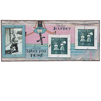 Clayre & Eef 2F0284 picture frame The Best Journey approx. 56x23x2 cm / 1x 10x15 cm 2x 10x10 cm