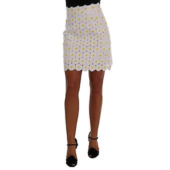 Dolce & Gabbana White Daisy Embroidered Lace Skirt -- SKI1168496