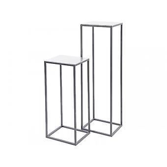 Libra möbler silver strukturerad uppsättning piedestal tabeller