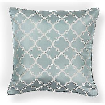 Elegant Square Light Blue Filigree Design Accent Pillow